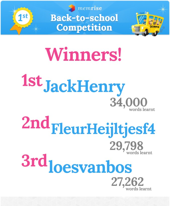 Back to School Competition Winners