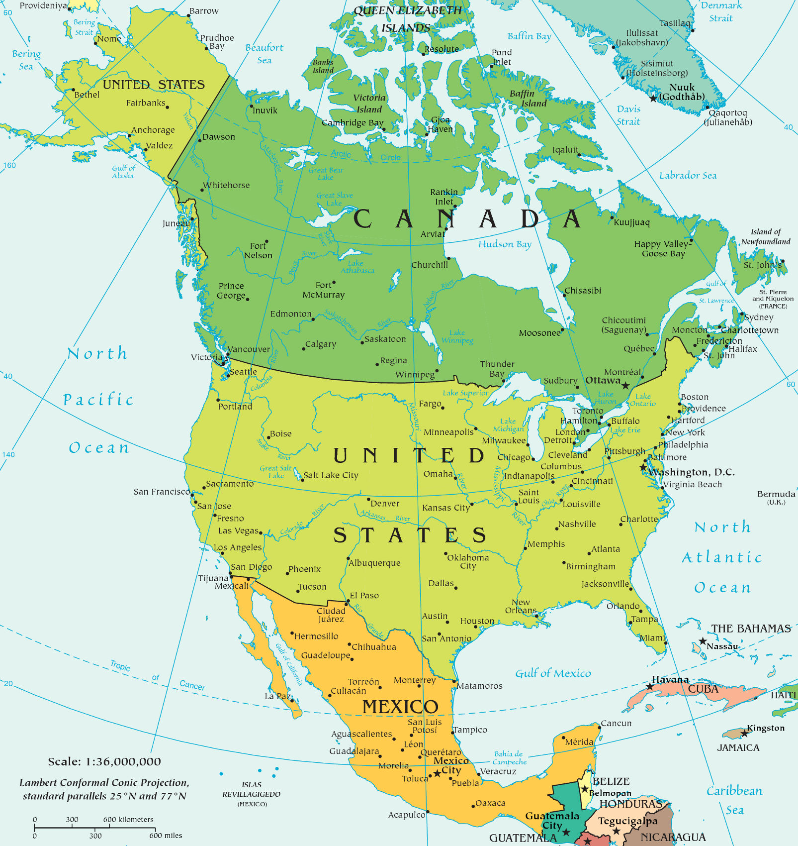 23 Countries Of North America Map