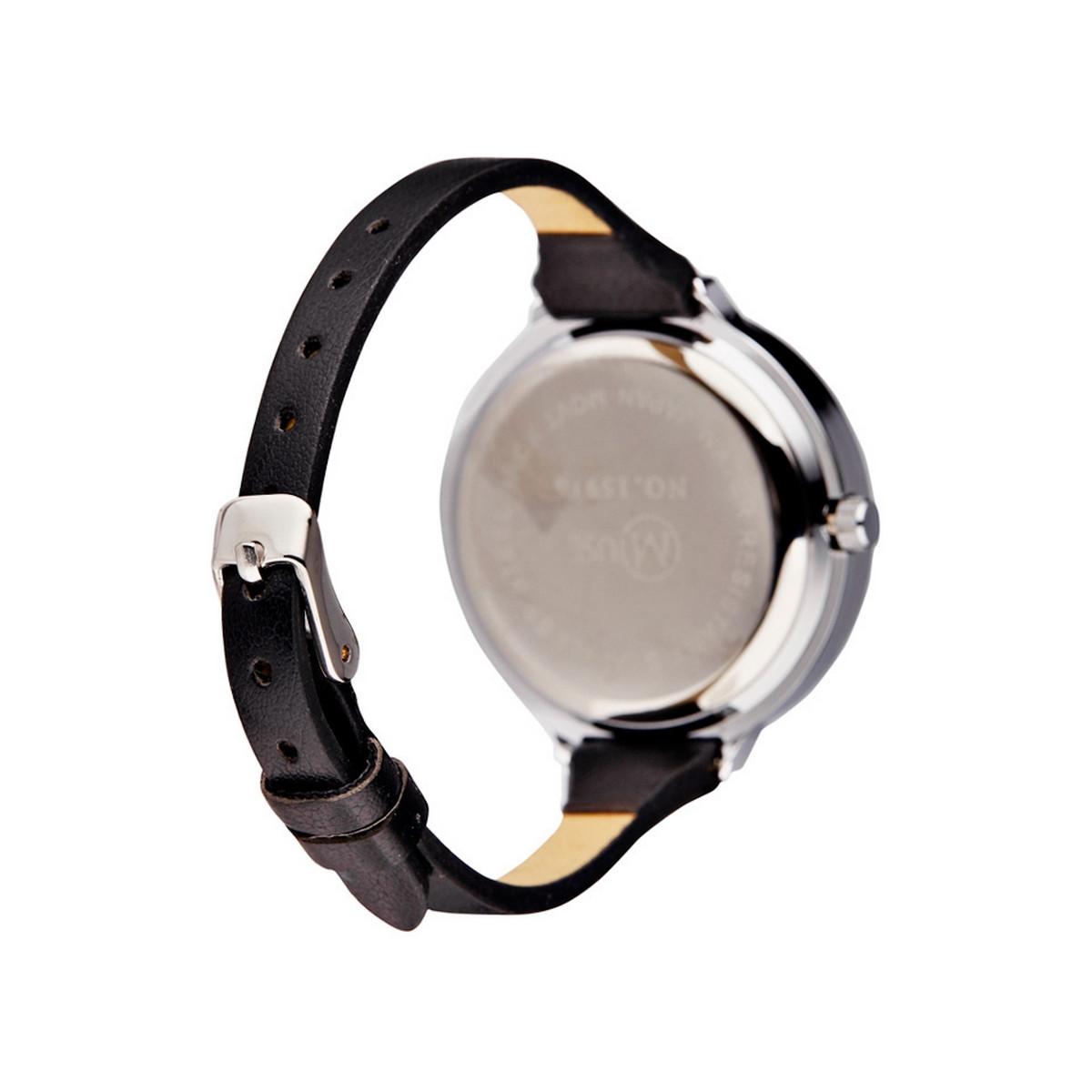 muse montre femme argente la facette bracelet cuir noir
