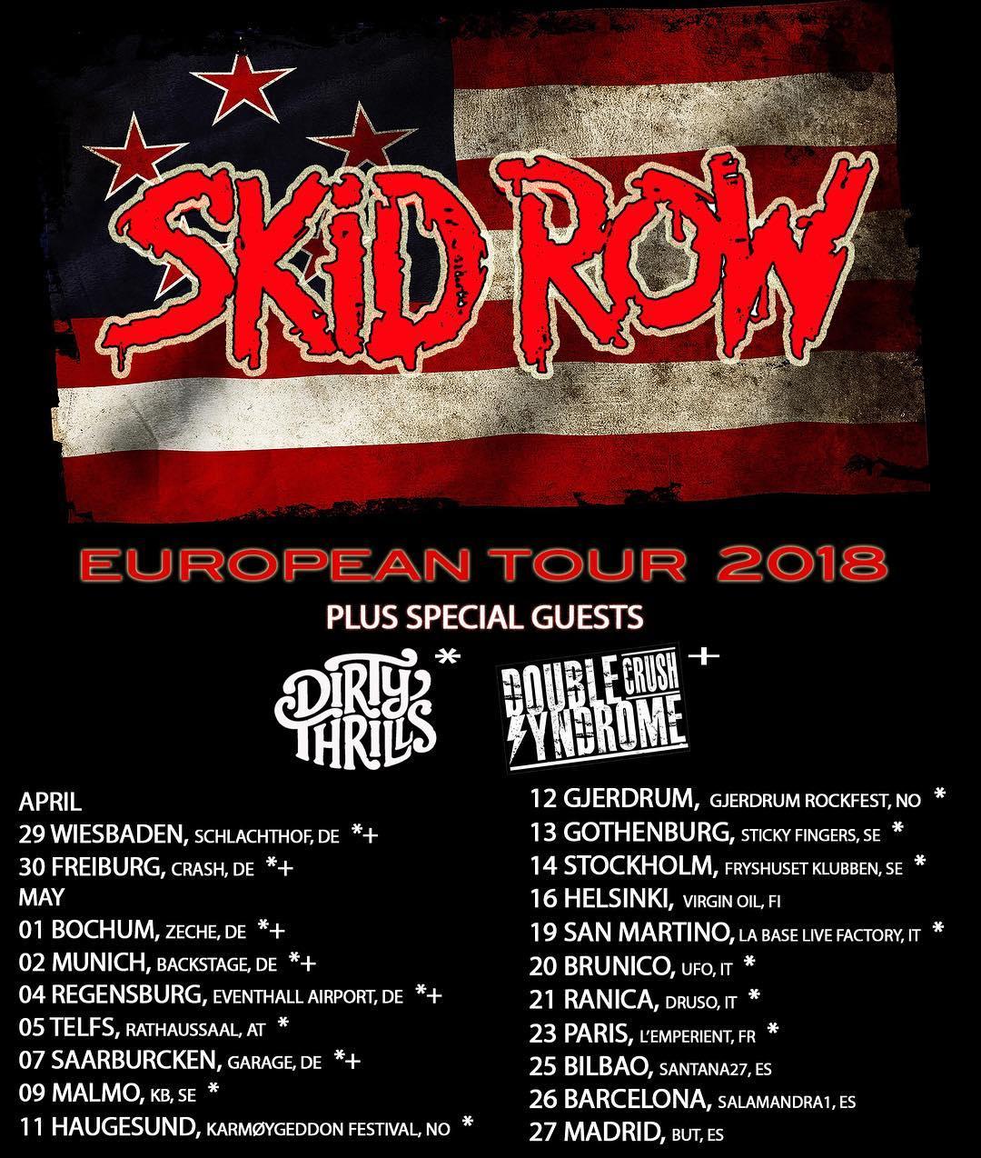 Skid Row Tour 2018 Flyer