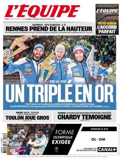 L'Équipe du samedi 23 janvier 2016