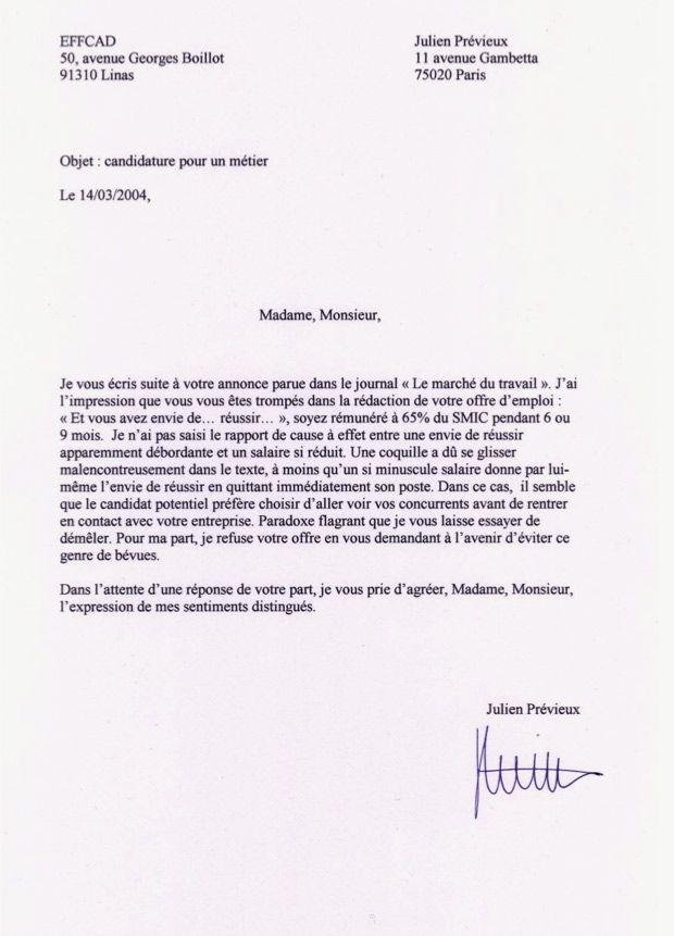 Julien Prévieux Et Ses Lettres De Non Motivation