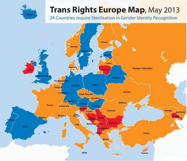 Le sexe «indéterminé» bientôt officiellement reconnu en Allemagne Trans Rights Europe Map 2013