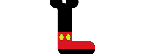 Mickey Mouse Style Letter L Cut Out – Large