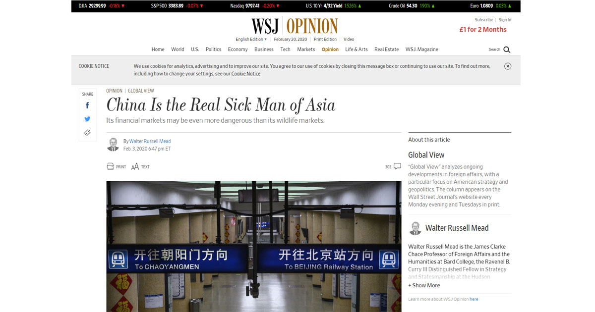 China angered by derogatory Wall Street Journal headline calling it 'sick man of Asia'. explained - Mothership.SG - News from Singapore. Asia and ...
