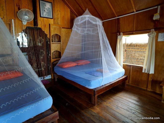 Interior of a White Beach Bungalow on Koh Rong.