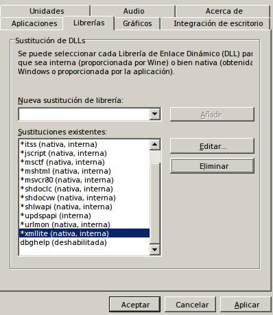 configuracion winecfg