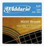 D'addario Ej11 80 / 20 Bronze Light Acoustic Guitar Strings