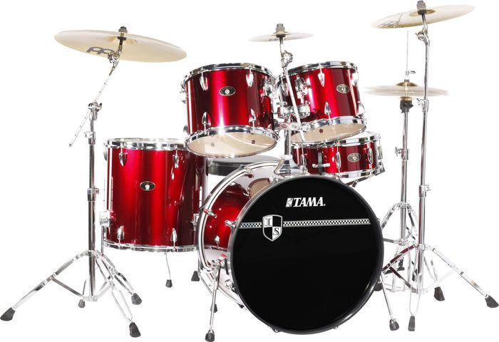 Tama Imperialstar 5 Piece Standard Drum Set With Cymbals Vintage Red