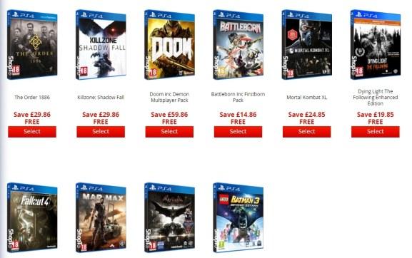 Auswahl Spiele PS4 Bundle