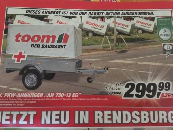 Lokal Rendsburg Toom Pkw 750kg Anhänger Inkl Plane 299,99