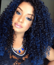 women rock blue hair