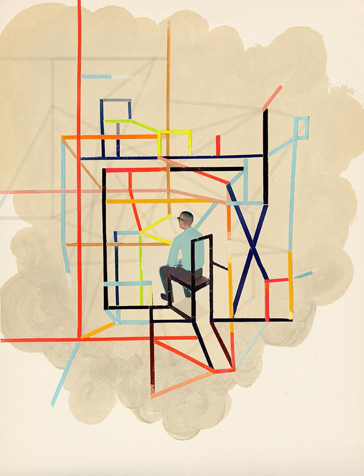 colorful painting of man sitting with abstract structure around him