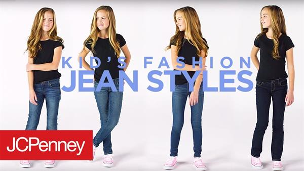Little girls wearing black shirt and jeans at JCPenny