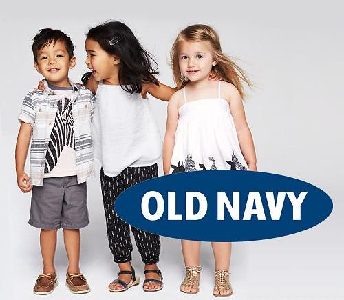 Three kids wearing Old Navy clothes