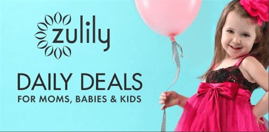 Little girl holding a pink balloon on Zulily ad