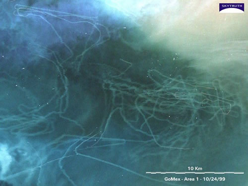 Bottom trawling seen from space
