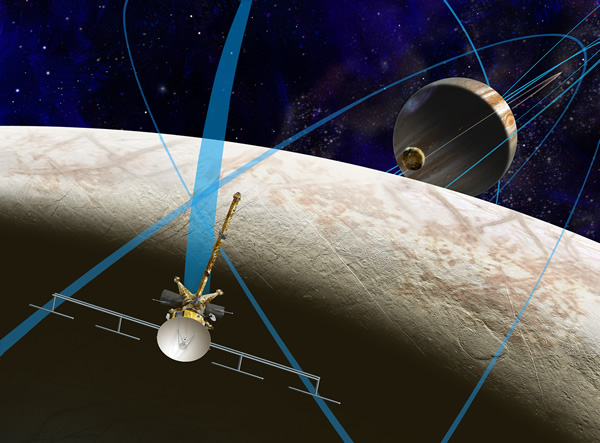 Artist's concept of the Europa Clipper mission. Image: NASA/JPL-Caltech