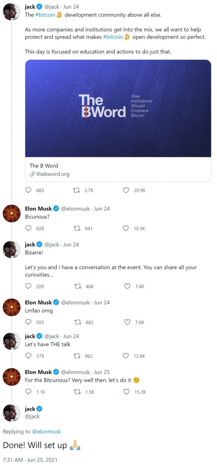 Elon Musk von Tesla und Jack Dorsey von Twitter vereinbaren, beim ...