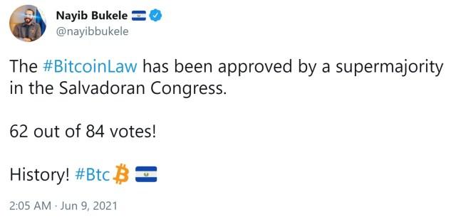 """薩爾瓦多使 BTC 合法投標的""""比特幣法""""以絕對多數通過"""