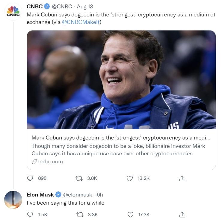 Elon Musk และ Mark Cuban มองว่า Dogecoin เป็น Cryptocurrency ที่ 'แข็งแกร่งที่สุด' สำหรับการชำระเงิน