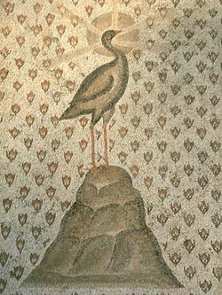 Detail from mosaic Semis de roses et phénix Louvre Museum, Paris, France