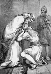 Joab oversees the reconciliation of David and Absalom