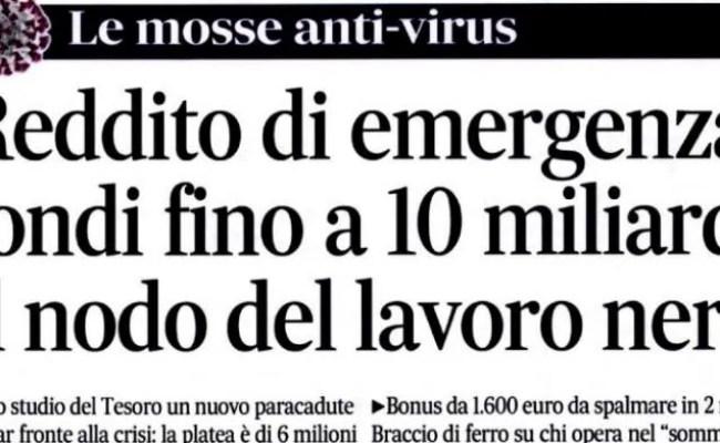 Reddito Di Emergenza Un Bonus Da 1600 Euro Per Sei Milioni