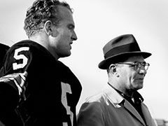 Paul Hornung (left) credits Vince Lombardi (right) with saving his football career.