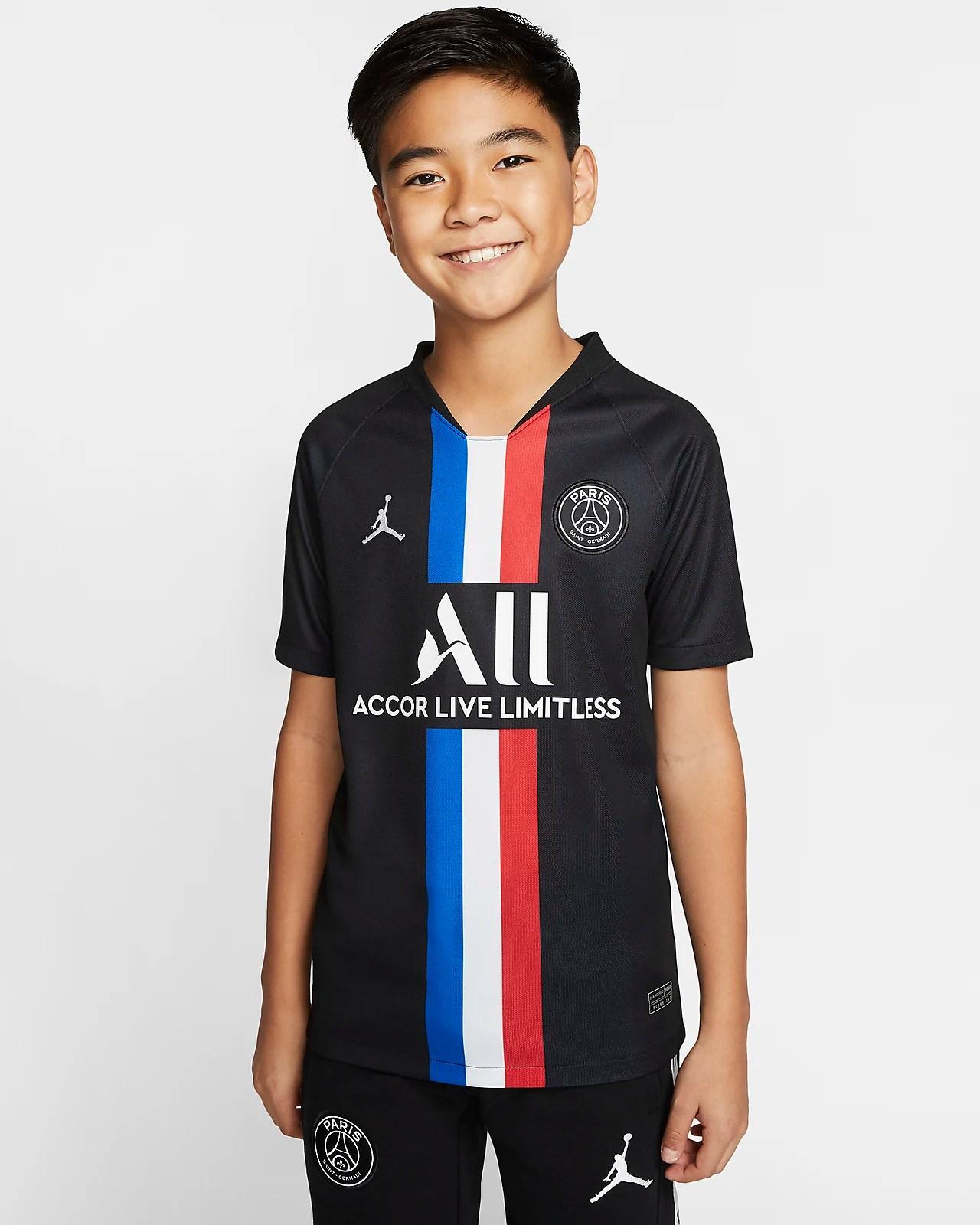 jordan x paris saint germain 2019 20 stadium away fussballtrikot fur altere kinder