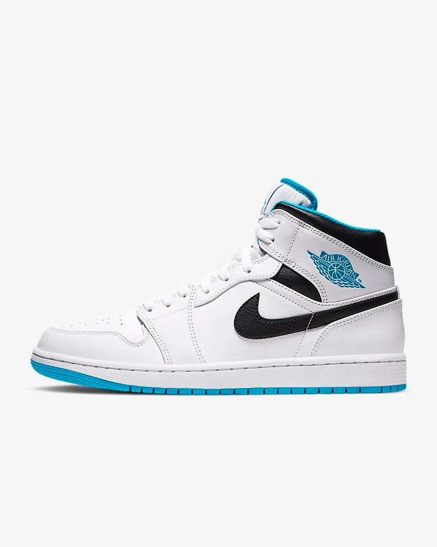 Air Jordan 1 Mid 'White / Laser Blue'