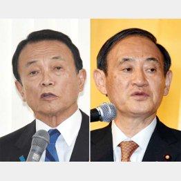 対立を深める麻生財務相と菅官房長官/(C)日刊ゲンダイ