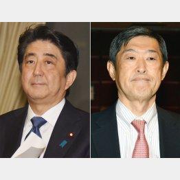 悲劇を招いた安倍首相(左)と北岡座長代理/(C)日刊ゲンダイ