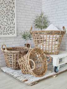 Large Rattan Basket Set Strong Storage Baskets