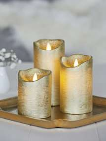 Gold Led Pillar Candles Flameless Nordic