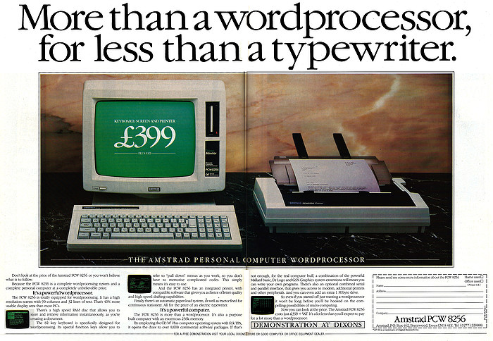 Nosher Net Amstrad Advert More Than A Word Processor For Less Than A Typewriter