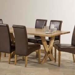 Oak Dining Set 6 Chairs White Slipcover Chair Crossley Solid 6ft Table With