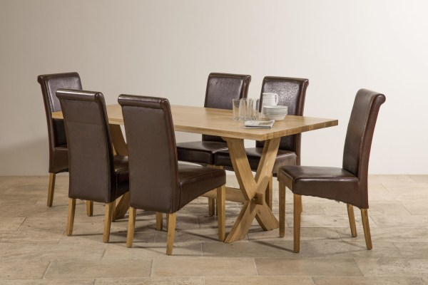 Crossley Solid Oak Dining Set - 6ft Table With 6 Chairs