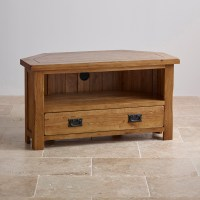 Original Rustic Solid Oak Corner TV + DVD Cabinet