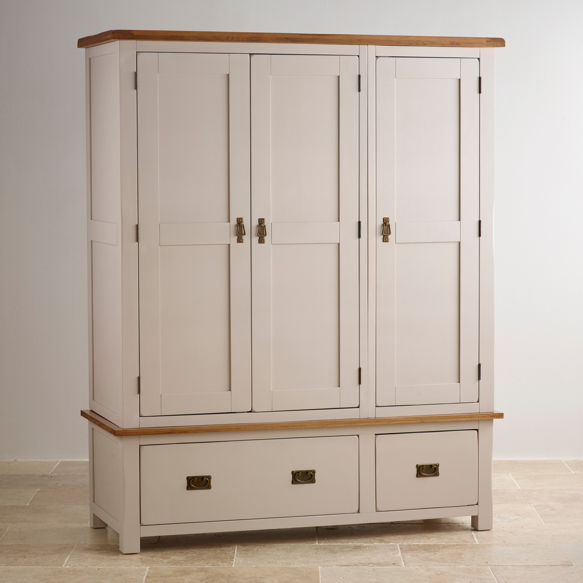 oak furniture land living room sets accent benches kemble solid & painted triple wardrobe