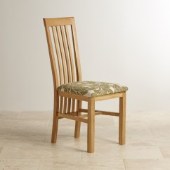 Fabric Dining Chairs Uk Posture Fixer Chair Slat Back Natural Solid Oak And Patterned Sage
