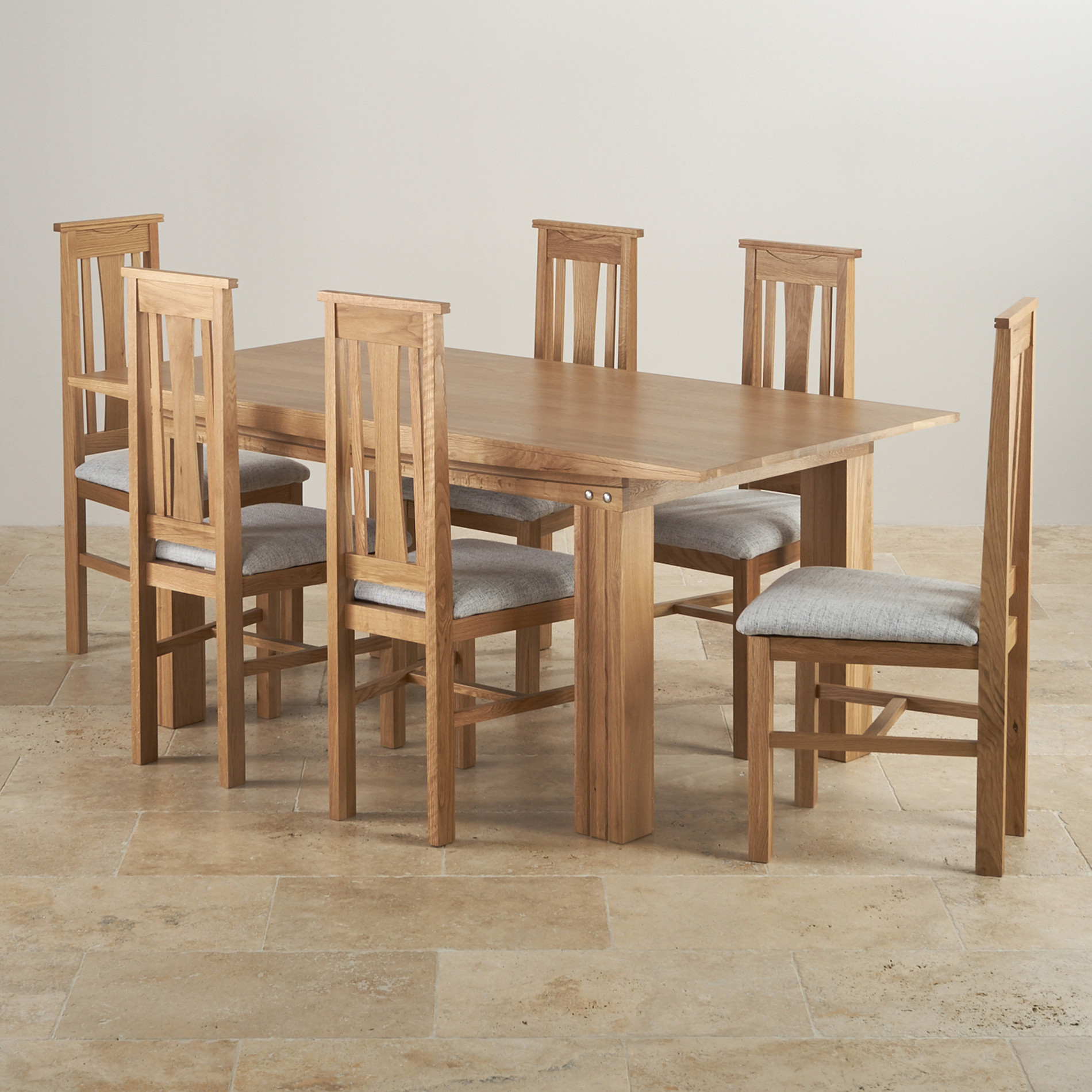 Tokyo Natural Solid Oak Dining Set  6ft Table with 6 Chairs