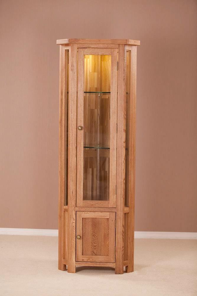 Nottingham Rustic Oak Glass Corner Display Cabinet  Oak World