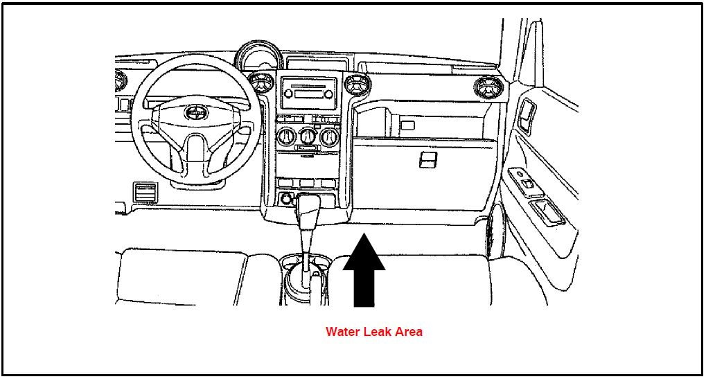 Front Passenger Foot Area Wet