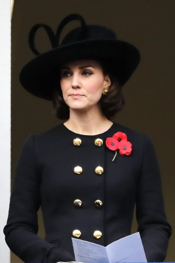 Britain's Catherine, Duchess of Cambridge attends the Remembrance Sunday ceremony at the Cenotaph on Whitehall in central London, on November 12, 2017. Services are held annually across Commonwealth countries during Remembrance Day to commemorate servicemen and women who have fallen in the line of duty since World War I. / AFP PHOTO / Tolga AKMEN        (Photo credit should read TOLGA AKMEN/AFP/Getty Images)