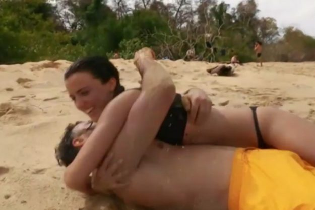 Lucy Mecklenburgh rolls around in a bikini with Ryan Thomas in the teaser for the next episode of the show