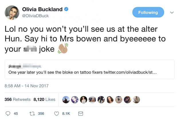 Olivia Buckland hit back at a troll who slated Alex Bowen's tattoo decision