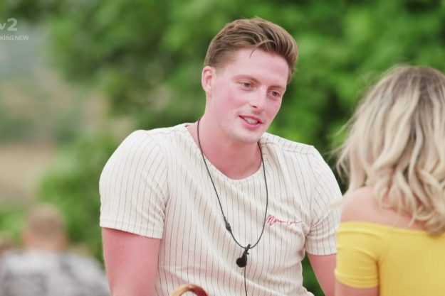 Love Island's Alex George leaves ITV2 viewers questioning his shiny face