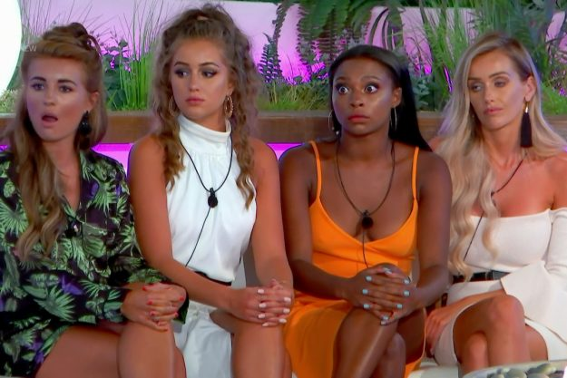 After the public vote islanders are told that they must choose from the remaining three couples who to send home on 'Love Island'. Broadcast on ITV2    Featuring: Laura Anderson, Dani Dyer, Samira Mighty, Georgia Steel  When: 27 Jun 2018  Credit: Supplied by WENN    **WENN does not claim any ownership including but not limited to Copyright, License in attached material. Fees charged by WENN are for WENN's services only, do not, nor are they intended to, convey to the user any ownership of Copyright, L