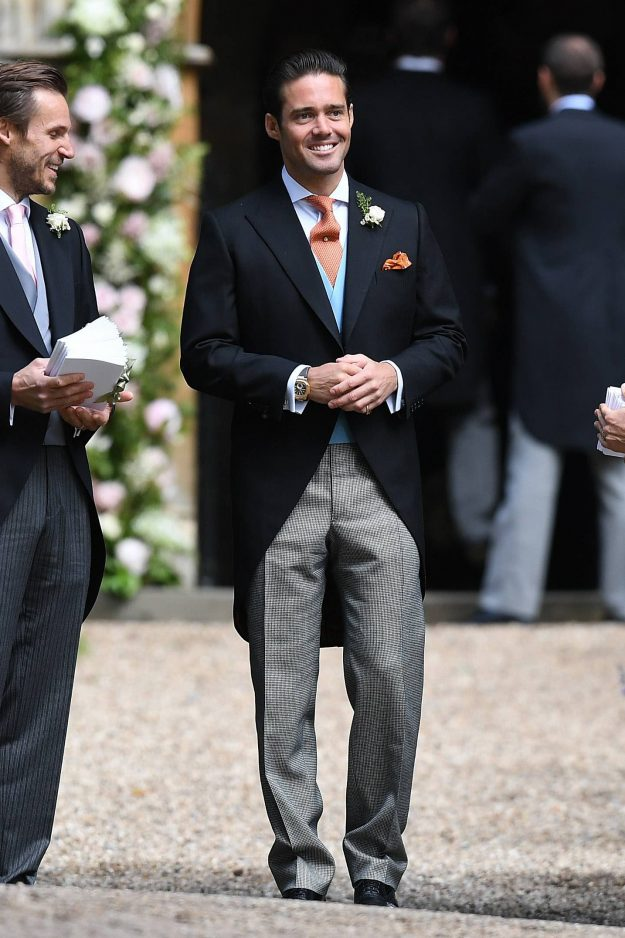 ENGLEFIELD GREEN, ENGLAND - MAY 20: Spencer Matthews (C) brother of James Matthews attends the wedding of Pippa Middleton and James Matthews at St Ma